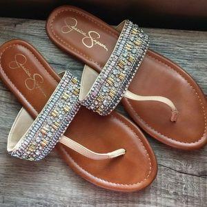 Jessica Simpson Tan Boho Beaded Sandals